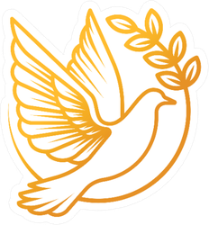 Dove Logo Illustration In Gold Sticker