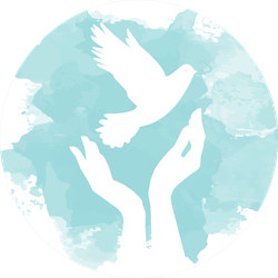 Dove Of Peace Flying From Open Hands Blue Paint Sticker