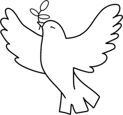 Dove Of Peace Illustration Holding An Olive Branch Sticker