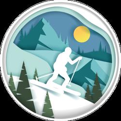 Downhill Skiing Illustration Sticker