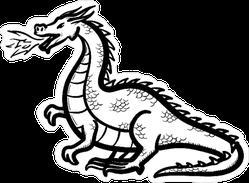 Dragon Breathing Fire Doodle Sticker