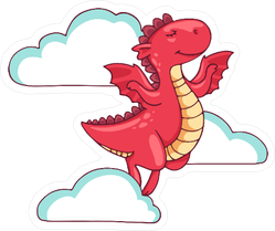 Dragon Prancing in the Clouds Sticker