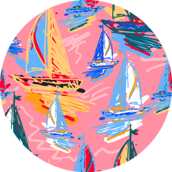 Drawing Colorful Wind Surf Pattern Of Sailboats Sticker