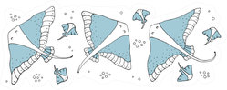 Drawing - Funny Stingrays Sticker