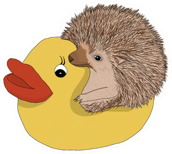 Drawing Of A Hedgehog Sitting In A Rubber Duck Sticker