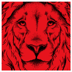 Drawing Of A Red Lion's Head Sticker