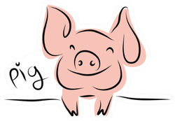 Drawing Of Cute Pig Sticker