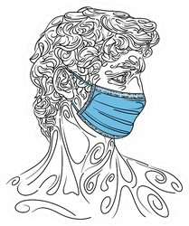 Drawing Of David In Medical Mask Sticker