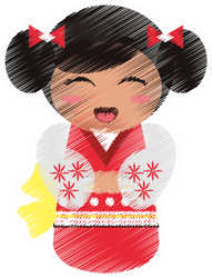 Drawing of Japanese Geisha Doll Sticker