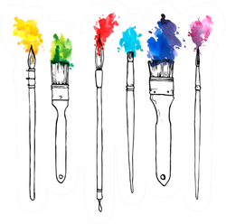 Drawing Paint Brushes With Color Paint Sticker