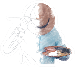 Drawn Man Painting Himself Sticker