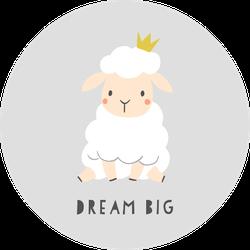 Dream Big Sheep Cartoon Sticker