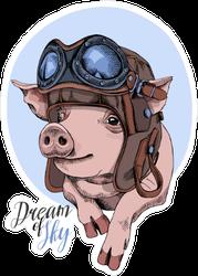 Dreams of Sky Pig Aviator Sticker