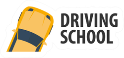 Driving School Banner With Car Sticker