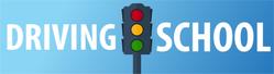 Driving School Banner With Street Light On Blue Sticker