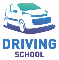Driving School Blue Car Logo Sticker
