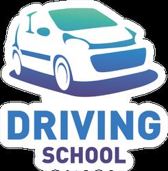 Driving School Blue Car Logo Sticker