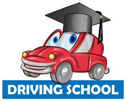 Driving School Car Cartoon Graduation Cap Sticker