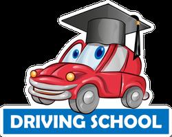 Driving School Car Cartoon Graduation Cap Sticker