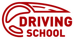 Driving School Red Logo Sticker