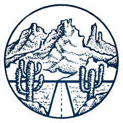Dry Desert Mountain Stamp Circle Sticker