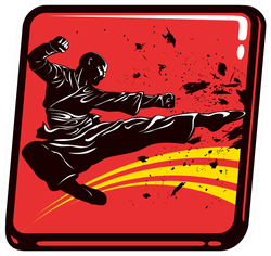 Dynamic Icon Of Martial Arts Fighter Sticker