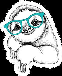 Sloth Wearing Glasses Sticker