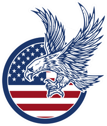 Eagle Soaring On American Flag Sticker