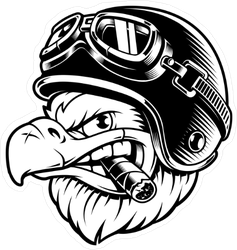 Eagle with Cigar Motorcyclist Sticker