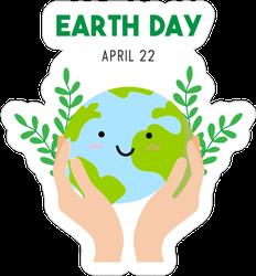 Earth Day Cartoon Card Sticker