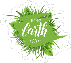 Earth Day  Green Grass And Leaves Sticker