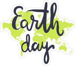 Earth Day Hand Lettering Sticker