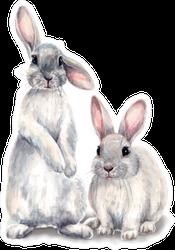 Easter Bunnies Watercolor Illustration Sticker