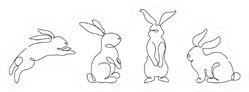 Easter Bunny Set In Simple One Line Style Sticker
