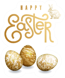 Easter Card With Realistic Easter Eggs In Gold Sticker