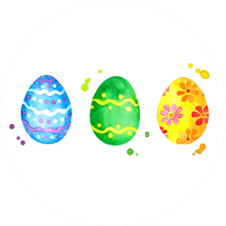 Easter Eggs In Bright Watercolor Sticker