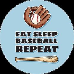 Eat Sleep Baseball Repeat Cute Postcard Sticker