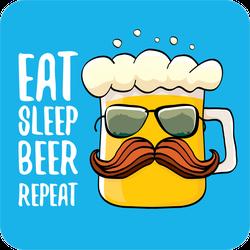 Eat Sleep Beer Repeat Cartoon Sticker