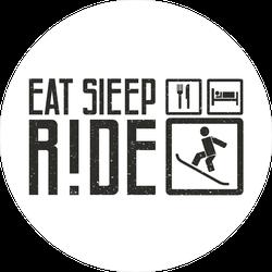 Eat, Sleep, Ride Snowboarding Circle Sticker
