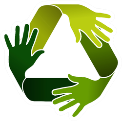 Ecology And Recycling Teamwork Hands Sticker