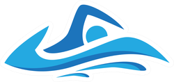 Education Swim Blue Color Logo Design Sticker