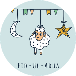 Eid-ul-adha Greeting Card With Sheep Sticker