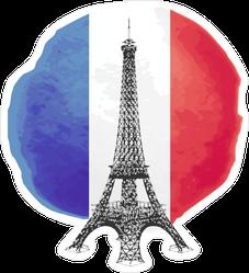 Eiffel Tower On Flag Of France Sticker