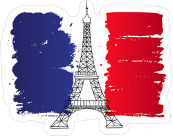 Eiffel Tower Painted France Flag Sticker