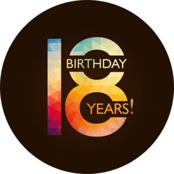 Eighteenth Birthday Colorful Sticker