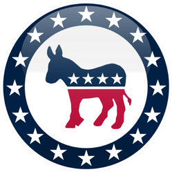 Election Themed Round Button Democratic Party Logo Sticker