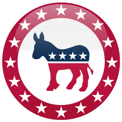 Election Themed Round Button Democratic Party Sticker