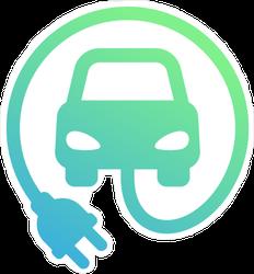 Electric Car Minimalist Icon Sticker