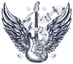 Electric Guitar with Angel Wings Sticker