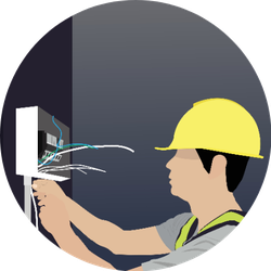 Electrician Is Working On Electricity Illustration Sticker